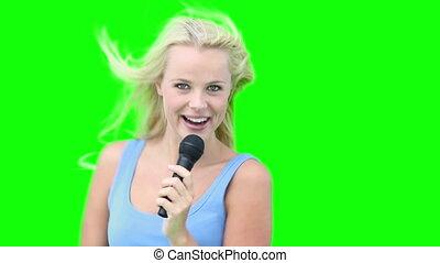 danse, microphone, quoique, chant, femme, blond