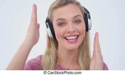 danse, musique, quoique, femme, blond, écoute