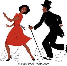 danse, noir, robinet, interprètes