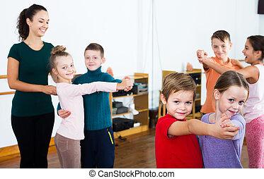 danse, paire, danse, enfants