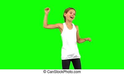 danse, peu, vert, écran, girl