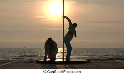 danse, poteau, plage, exercice, fitness