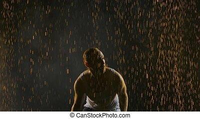 danse, salsa, homme, drops., motion., fin, lent, haut., fond, silhouette, pluie, brillant