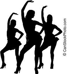 danse, silhouette, femmes
