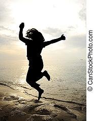danse, silhouette, saut