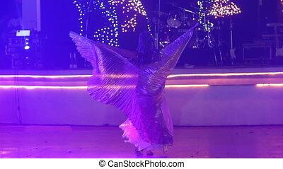 danse, théâtral, girl, déguisement, ailes