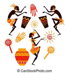 danse, vecteur, gens, silhouette, africaine, ensemble