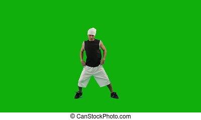 danse, vert, écran, type, hip-hop