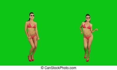 danser., écran, vert, bikini, girl