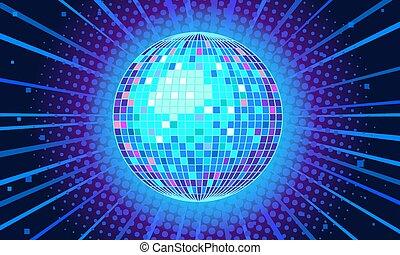 danser balle, fond, bleu