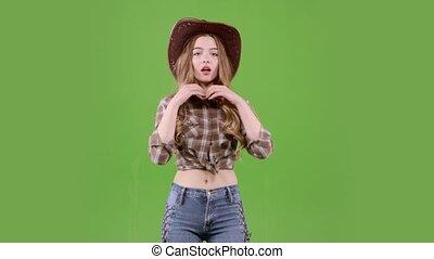 danser., cow-boy, écran, vert, girl, chapeau