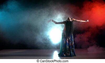 danseur, aller, rouges, mouvement, exotique, noir, bleu, beau, fumée, lent, bleu, danse, ventre, jeune, déguisement