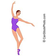 danseur, dame, collant, violet