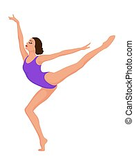 danseur, dame, violet, collant