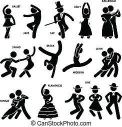 danseur, danse, pictogramme