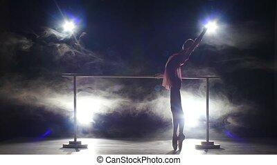 danseur, fumée, barre., ballerine