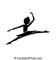 danseur, lances, petit, pose, silhouette