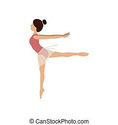 danseur, pose, coloré, quatrième, arabesque