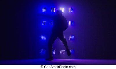 danseur, studio, professionnel, silhouette, sombre, culture., hip-hop, danse, bond branché, contemporary., fog., jeune, rehearsal.