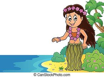 danseur, thème, 2, image, hawaien