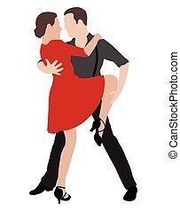 danseurs, 2, tango, illustration