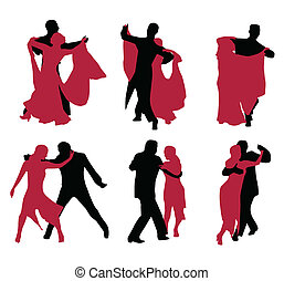 danseurs, backgroun, isolé, blanc