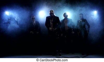 danseurs, femme, club, poser, fumée, nuit, studio, homme