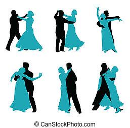 danseurs, isolé, blanc