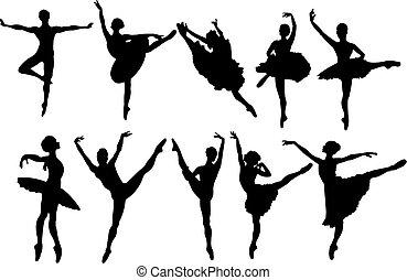 danseurs, silhouettes, ballet