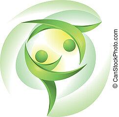 danseurs, vert, eco-icon