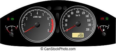dashboard., inclut, speedometer., accélérer