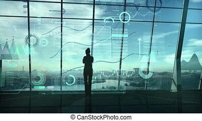data., femme, étalage, silhouette, entouré, business