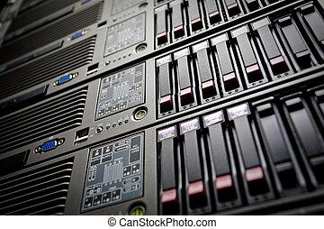 datacenter, pile, lecteurs disque dur, serveurs