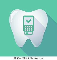 dataphone, icône, long, ombre, dent