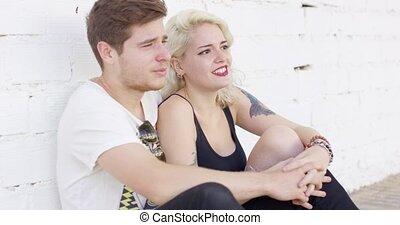 date, affectueux, couple, jeune, heureux