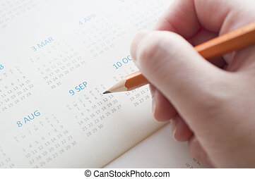 date, calendrier, pointage