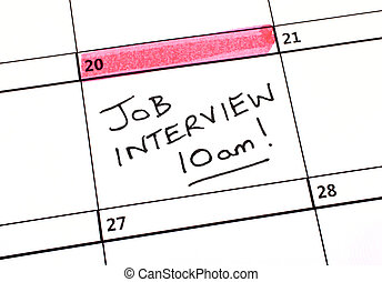 date, entrevue, métier, calendrier