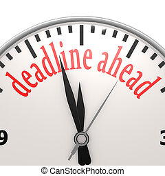 date limite, devant, horloge