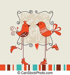 date, oiseaux, romantique