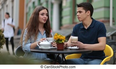 dater, délassant, couple, ensemble, rue, café