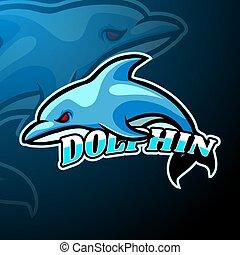 dauphin, conception, logo, mascotte, esport
