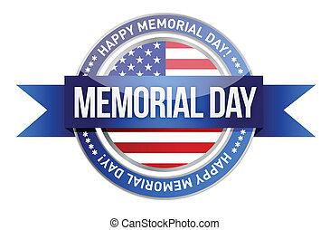 day., commémoratif, bannière, nous, cachet