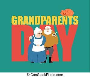 day., grands-parents, couple, grandfather., grand-mère, mûrir