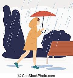day., pluvieux, heureux, imperméable, promenade, femme, apprécier, parc, femme, automne, ou, coloré, naturel, vecteur, pluie, plat, illustration., parapluie, girl, rue, sous, porter, sourire, promenade, extérieur, saison