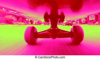 dayglo, skateboard.