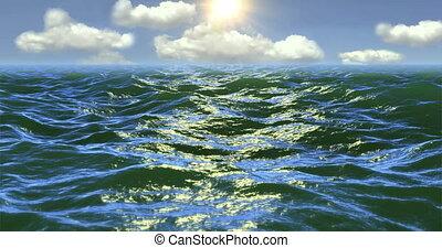 daylight., sur, vol, surface, océan
