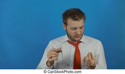day's, mal tête, après, alcool, prendre, dur, dû, gueule bois, pilule, fête, travail, ou, homme