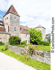 de, gevrey-chambertin, nuits, france, cote, bourgogne, château