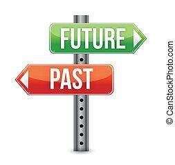 de, illustration, signe, passé, avenir, ou