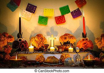 """de, mort, muertos"""", autel, jour, mexicain, """"dia"""